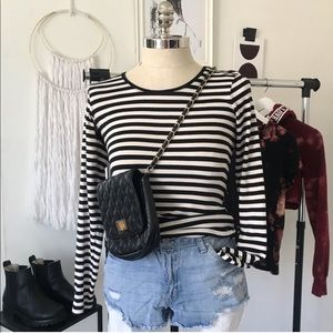 Black and Cream Striped Long Sleeve Top